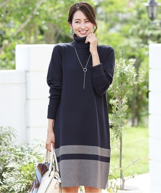 Tiaclasse 【洗える】ミラノリブ編みの配色タートルニットワンピース ネイビー