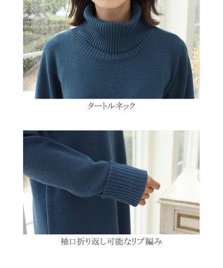 Tiaclasse 【洗える】ミラノリブ編みの配色タートルニットワンピース ターコイズ