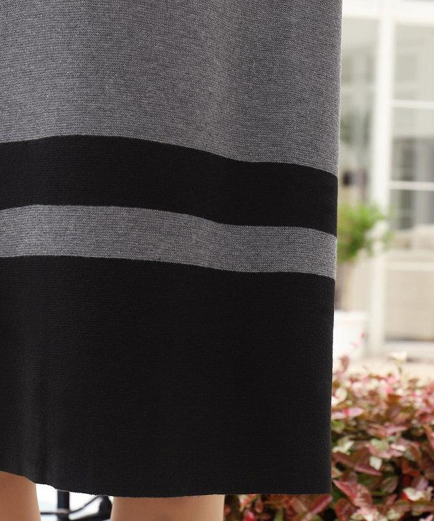 Tiaclasse 【洗える】ミラノリブ編みの配色タートルニットワンピース