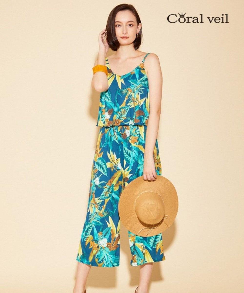San-ai Resort(三愛水着楽園) 【Coral veil】Lily Garden ガウチョ 3点セット 9号/11号 ネイビー