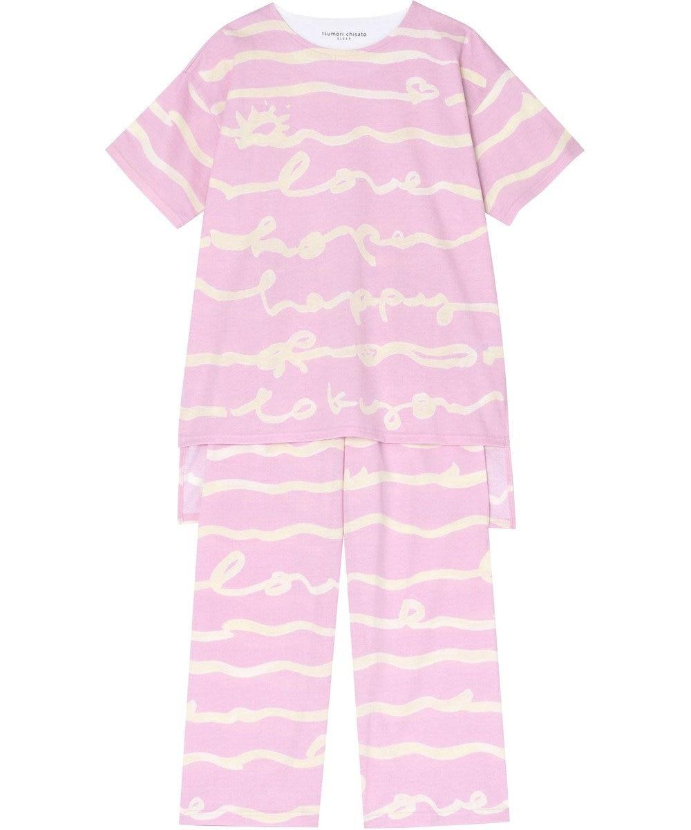 tsumori chisato SLEEP パジャマ 5分袖8分パンツ 手書き波ボーダー柄 /ワコール UDP408 ピンク