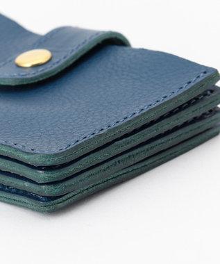 UNBILLION perche イタリア製牛革ジャバラ名刺カードケース ブルー