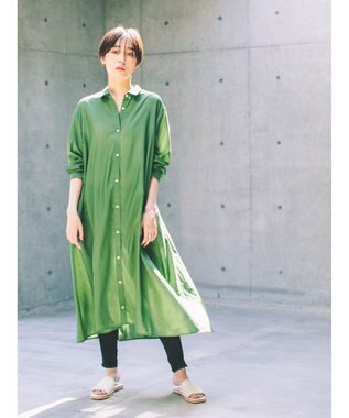koe 麻シャツワンピース Green