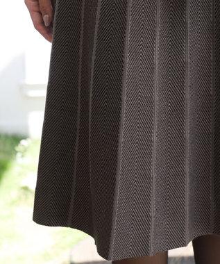 Tiaclasse 【洗える】1枚で着映えする、ヘリンボンニットワンピース モカ