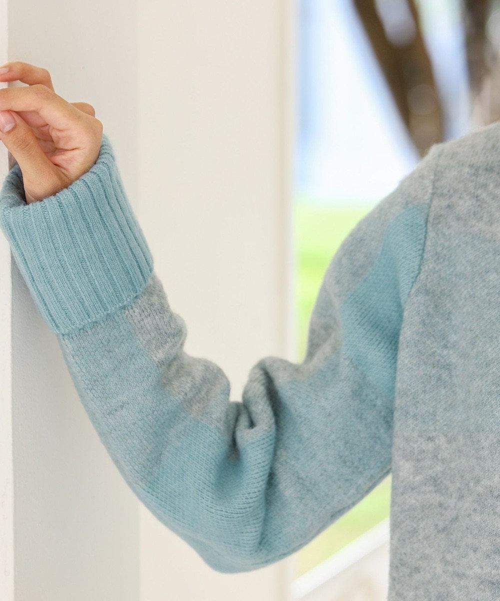 Tiaclasse 【洗える】スタイルカバーも叶うブロックチェックタートルニットチュニック ブルー