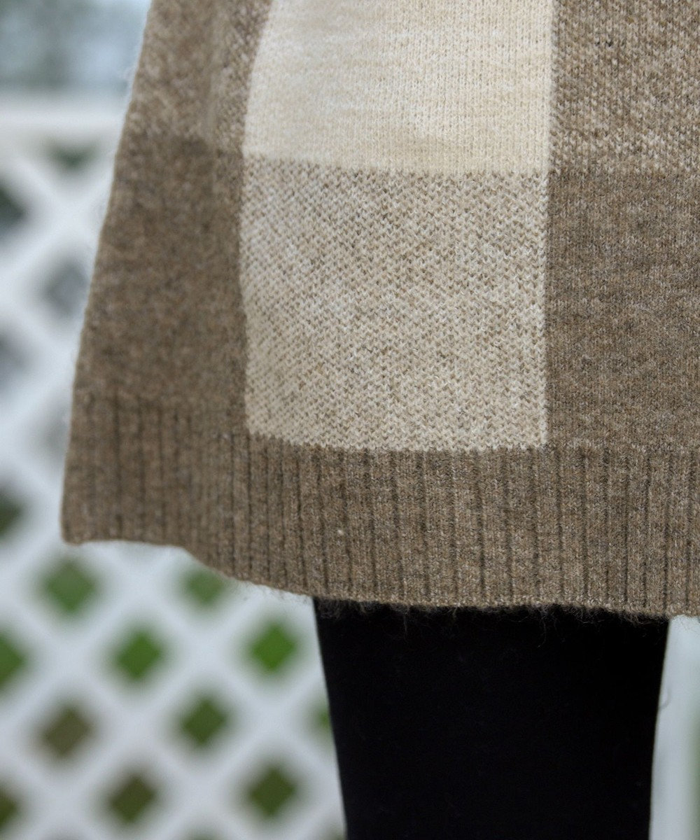 Tiaclasse 【洗える】スタイルカバーも叶うブロックチェックタートルニットチュニック モカ
