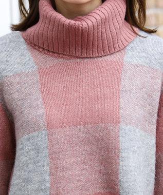 Tiaclasse 【洗える】スタイルカバーも叶うブロックチェックタートルニットチュニック ピンク