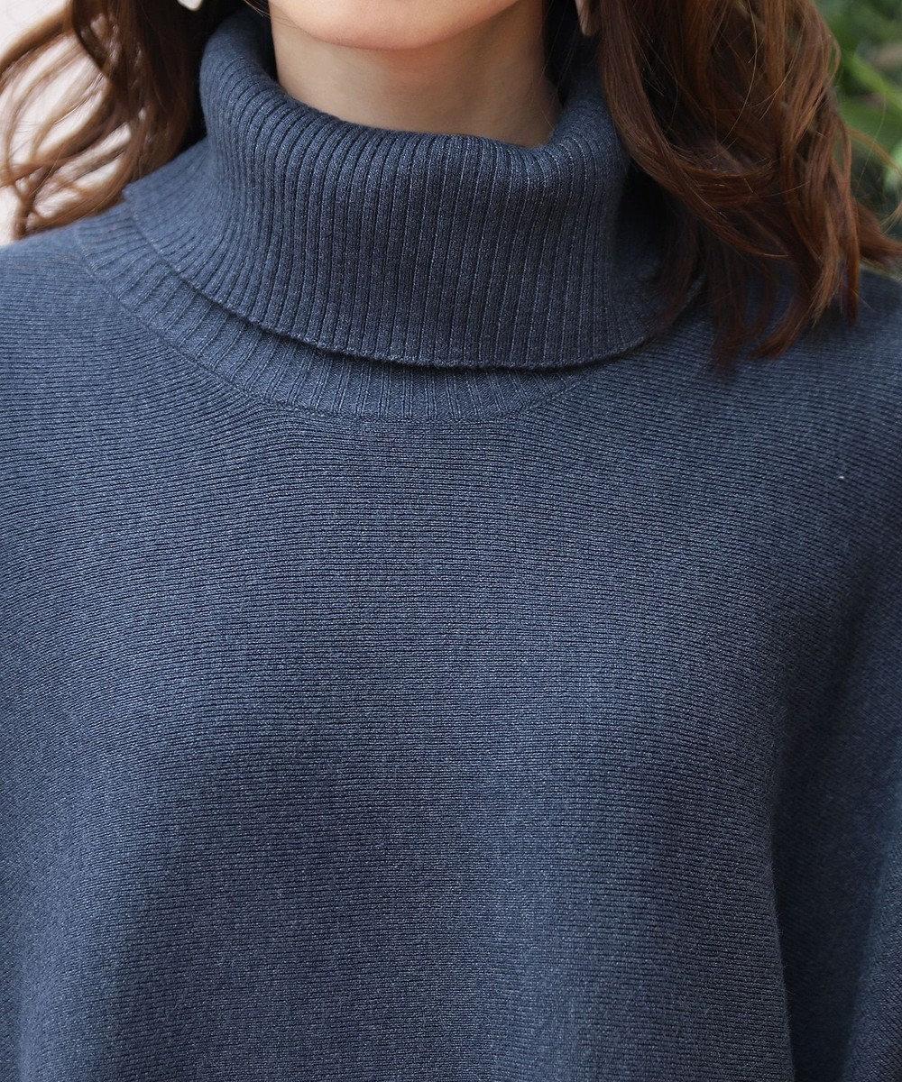 Tiaclasse 【新色追加・洗える】体型カバーも叶う、ポンチョ風ニットチュニック ブルー