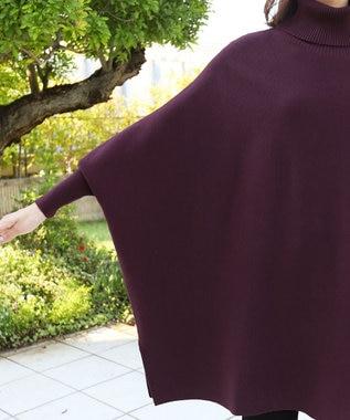 Tiaclasse 【新色追加・洗える】体型カバーも叶う、ポンチョ風ニットチュニック ワイン