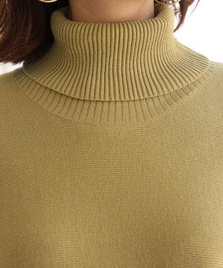 Tiaclasse 【新色追加・洗える】体型カバーも叶う、ポンチョ風ニットチュニック ソフトグリーン