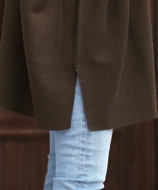 Tiaclasse 【新色追加・洗える】体型カバーも叶う、ポンチョ風ニットチュニック ブラウン
