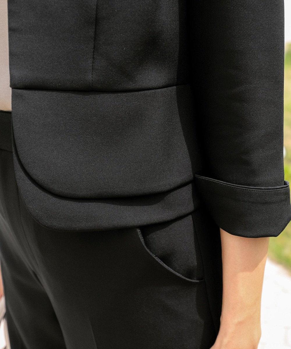 Tiaclasse 【洗える】大人上品な2段ぺプラムジャレロ ブラック