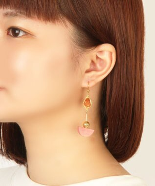 WYTHE CHARM K14GF カーネリアン×半円ウッドパーツピアス(ピンク) ピンク