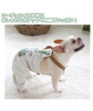 PET PARADISE スヌーピー コーディロイオーバーオール 〔中型犬〕 白~オフホワイト