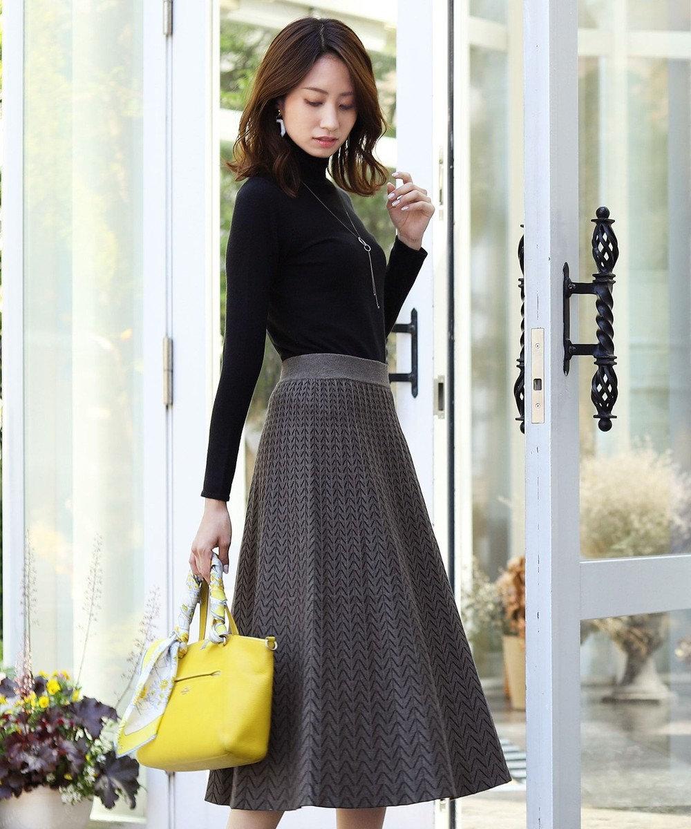 Tiaclasse 【洗える】大人上品なヘリンボンニットスカート グレー