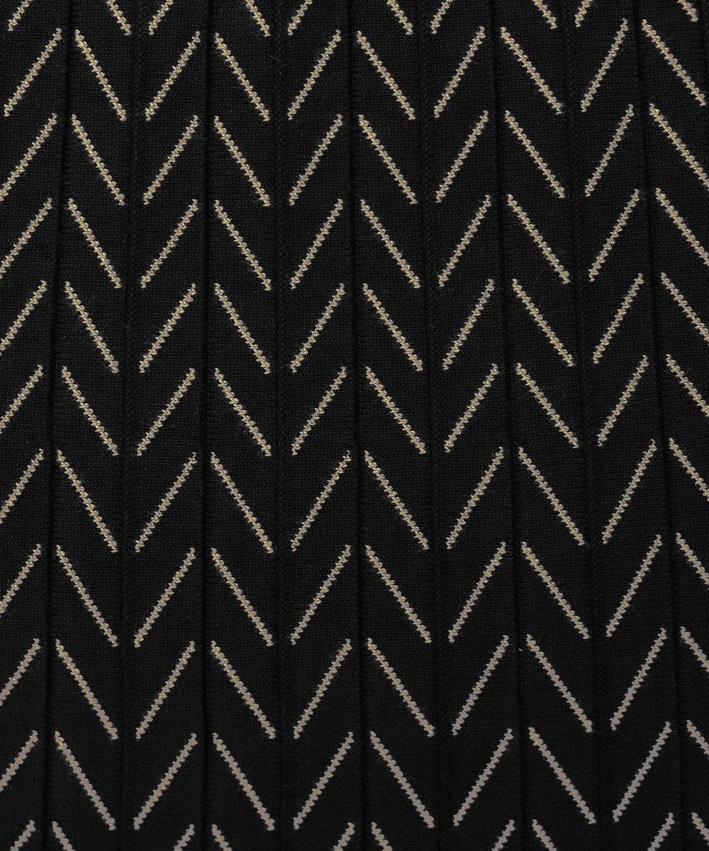 Tiaclasse 【洗える】大人上品なヘリンボンニットスカート ブラック