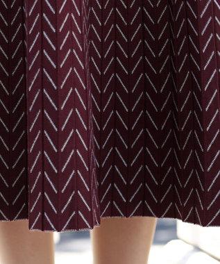 Tiaclasse 【洗える】大人上品なヘリンボンニットスカート ボルドー