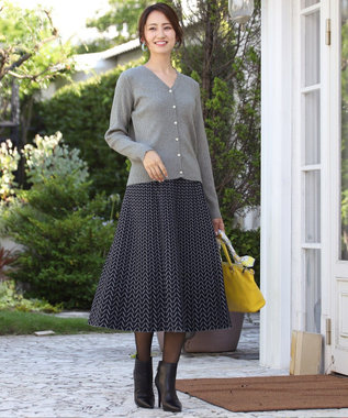 Tiaclasse 【洗える】大人上品なヘリンボンニットスカート ネイビー