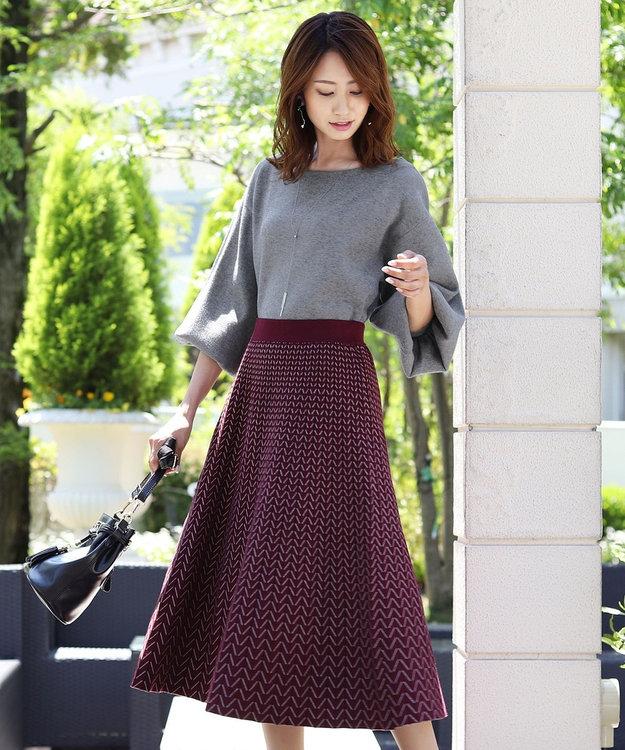 Tiaclasse 【洗える】大人上品なヘリンボンニットスカート