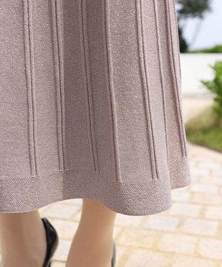 Tiaclasse 【洗える】大人華やぐ、ラメ入りニットプリーツスカート ピンクモカ