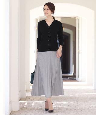 Tiaclasse 【洗える】大人華やぐ、ラメ入りニットプリーツスカート シルバー