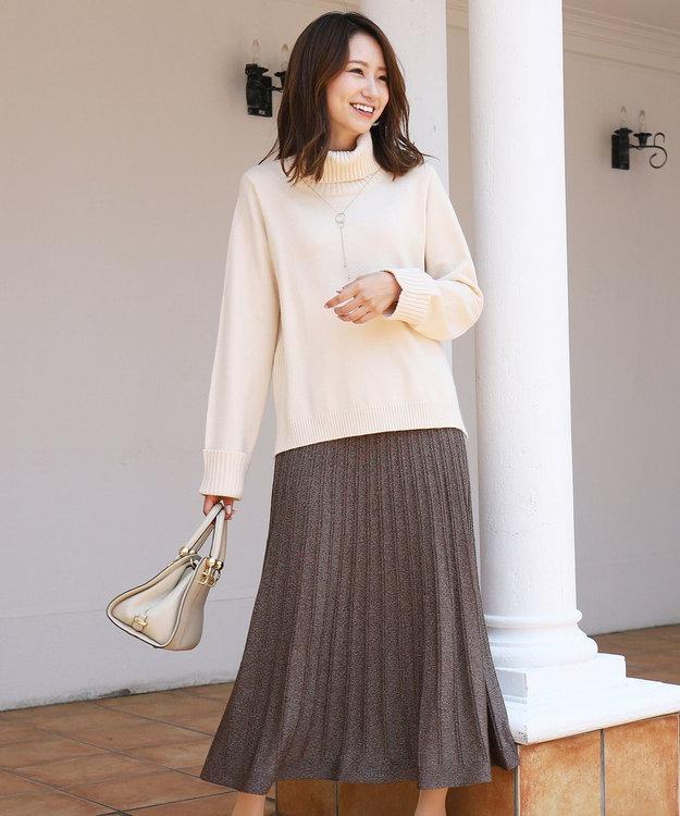 Tiaclasse 【洗える】大人華やぐ、ラメ入りニットプリーツスカート