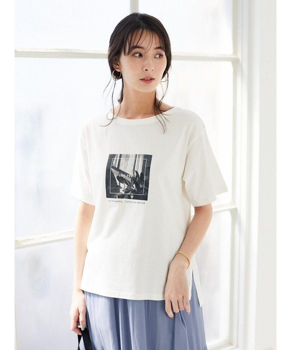 Green Parks モノトーンプリントTシャツ Off White