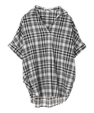 AMERICAN HOLIC スキッパーバックタック半袖シャツ Stripe