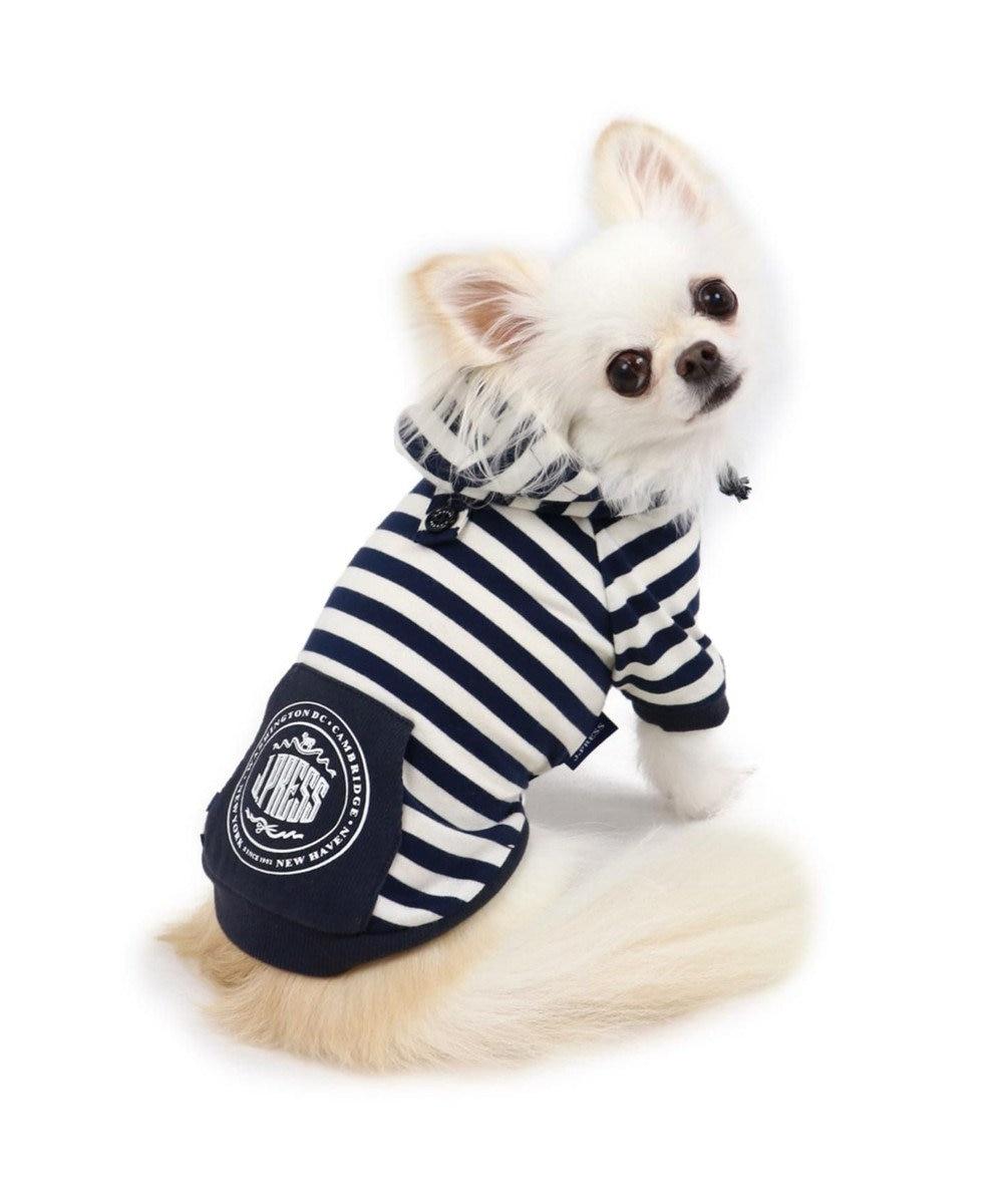 PET PARADISE J.PRESS ボーダーパーカー 〔超小型・小型犬〕 紺(ネイビー・インディゴ)