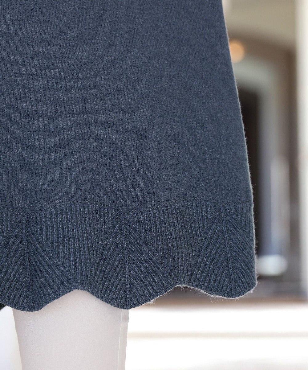 Tiaclasse 【洗える】もっちり柔らかいフレアヘムニットチュニック ブルー