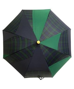 +RING 【限定/日本製】晴雨兼用傘(長ショート)GRN-CHK SR265 緑