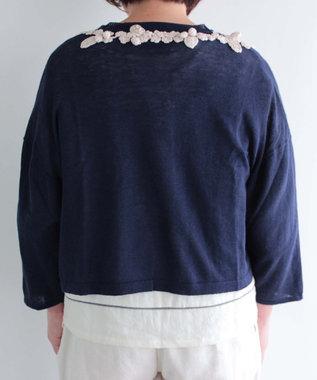 muuc 手編みのモチーフが付いたニットボレロ ネイビー