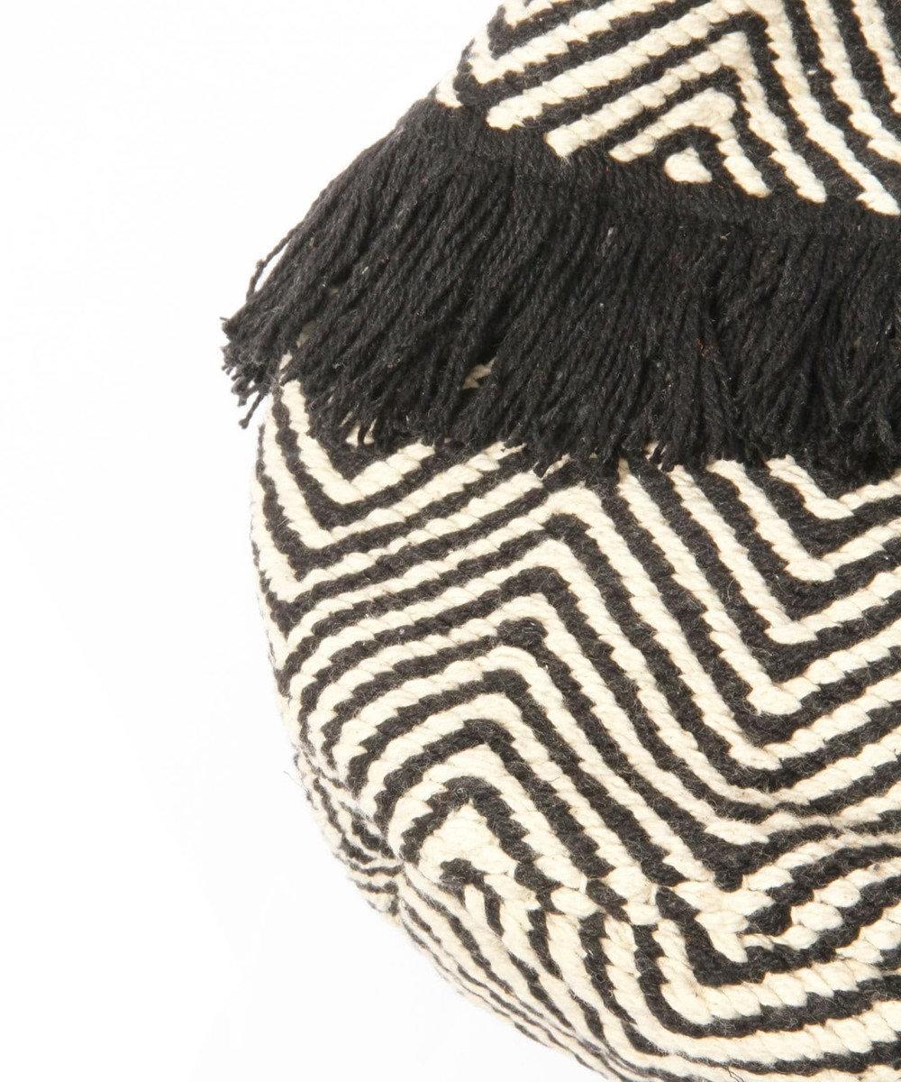 WYTHE CHARM 手織りジャガード巾着バッグ(ジグザグ柄) ブラック