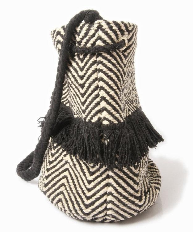 WYTHE CHARM 手織りジャガード巾着バッグ(ジグザグ柄)