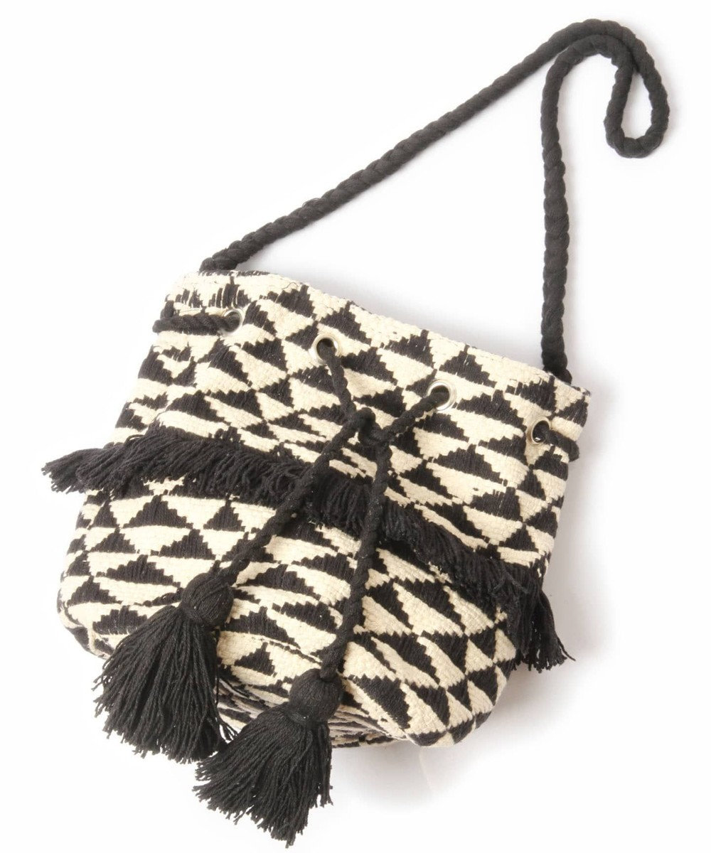 WYTHE CHARM 手織りジャガード巾着バッグ(トライアングル柄) ブラック