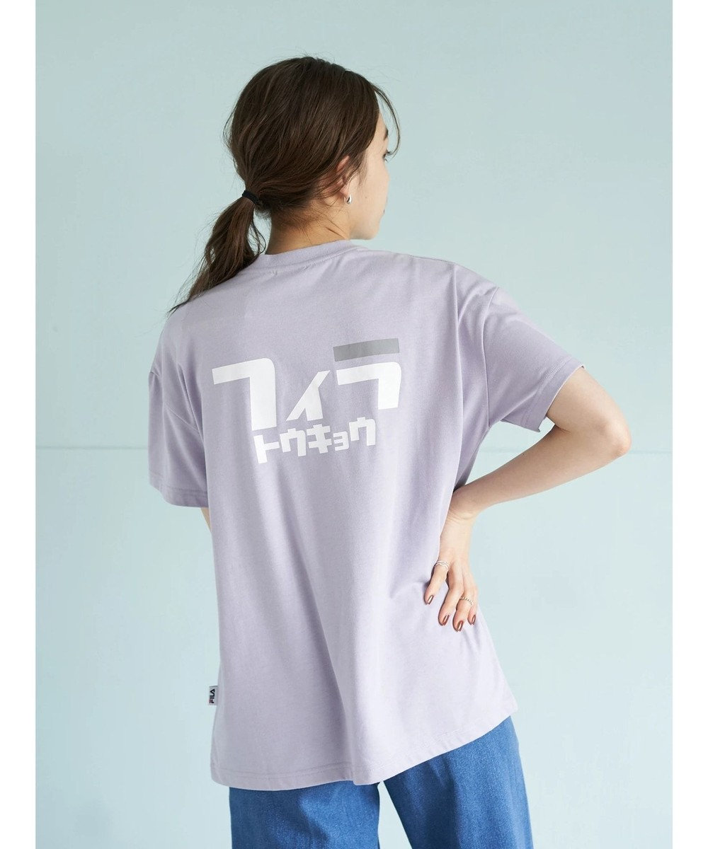 earth music&ecology FILA トウキョウバックカタカナTシャツ Lavender