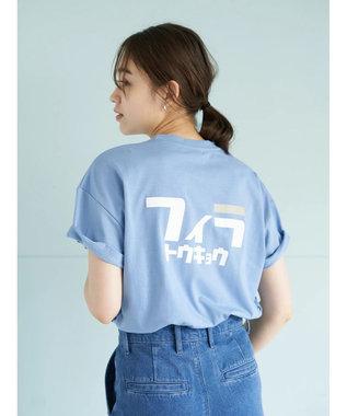 earth music&ecology FILA トウキョウバックカタカナTシャツ Blue