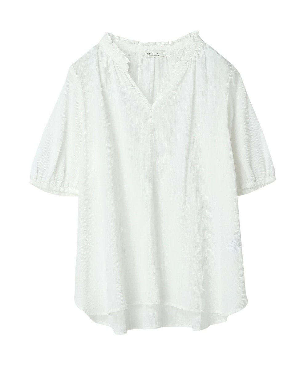 earth music&ecology フリル衿楊柳ブラウス Off White