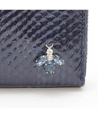 A.D.M.J. SNAKE LEATHER The Bee  ROUND WALLET NAVY