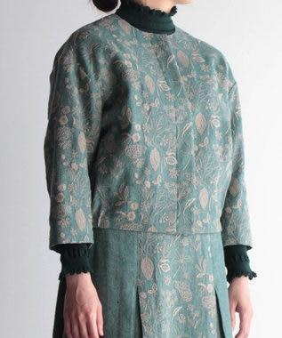muuc 筆記帳刺繍のジャケット グリーン