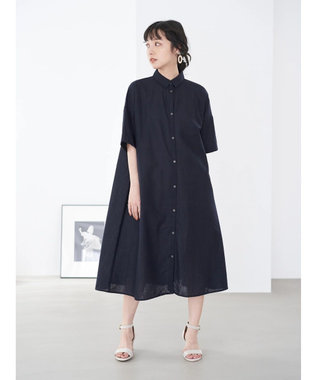 earth music&ecology 麻混シャツワンピース Navy