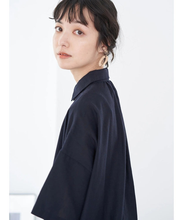 earth music&ecology 麻混シャツワンピース