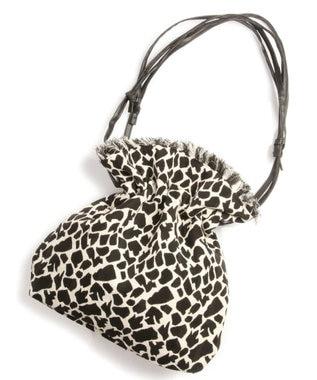 WYTHE CHARM 手織りジャガードフリンジ巾着ショルダーバッグ(レオパード柄) ブラック