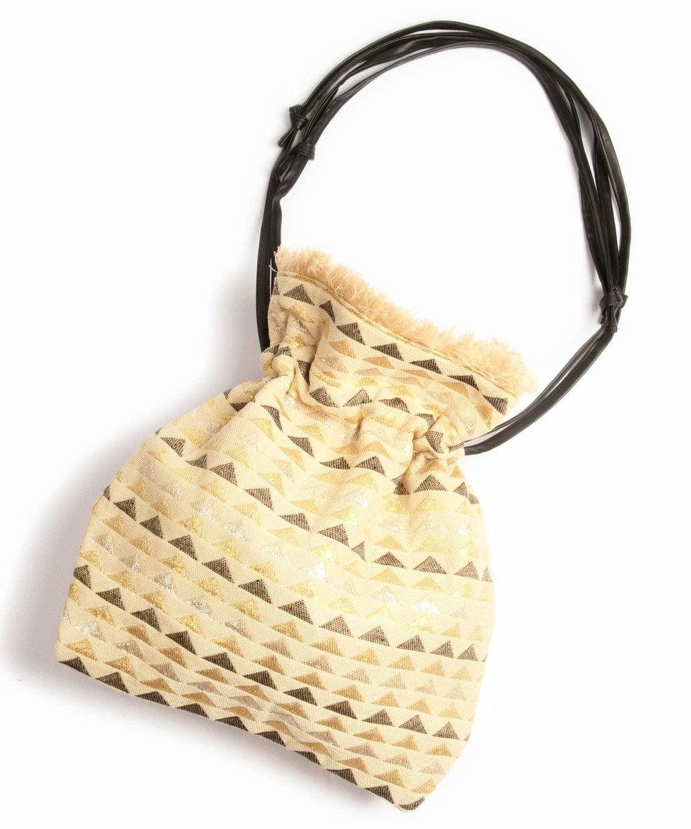 WYTHE CHARM 手織りジャガードフリンジ巾着ショルダーバッグ(三角メタリック柄) ベージュ