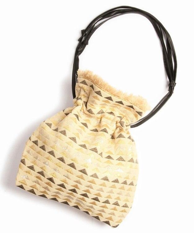 WYTHE CHARM 手織りジャガードフリンジ巾着ショルダーバッグ(三角メタリック柄)