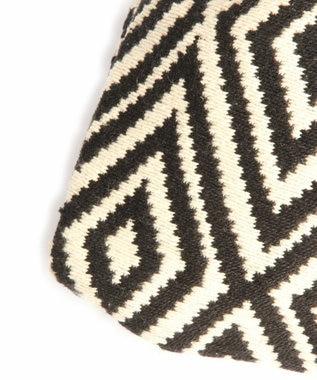WYTHE CHARM 手織りジャガードフリンジ巾着ショルダーバッグ(ダイヤモンド柄) ブラック