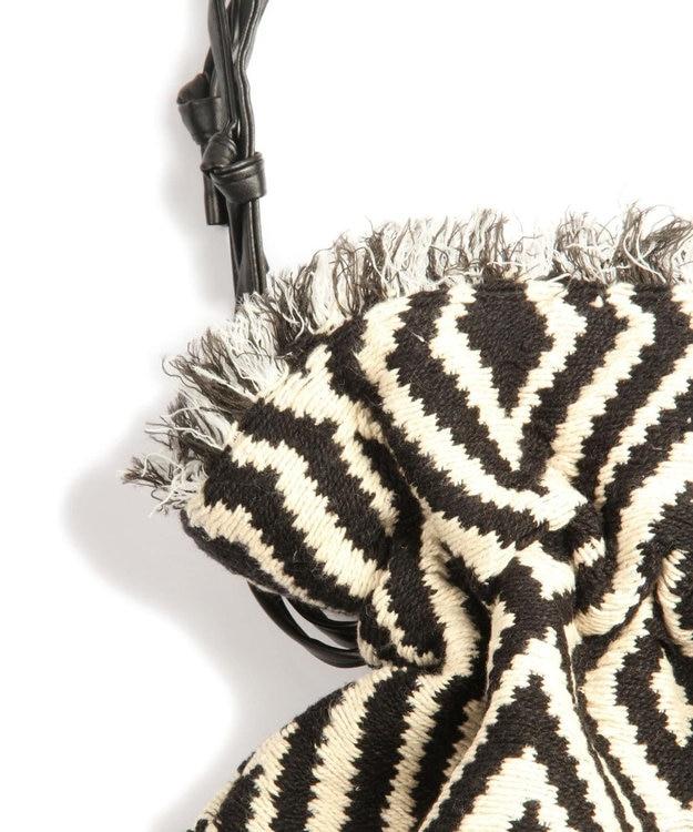WYTHE CHARM 手織りジャガードフリンジ巾着ショルダーバッグ(ダイヤモンド柄)