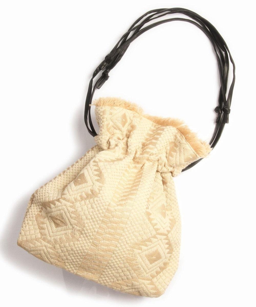 WYTHE CHARM 手織りジャガードフリンジ巾着ショルダーバッグ(ペールトーン幾何学柄) ベージュ
