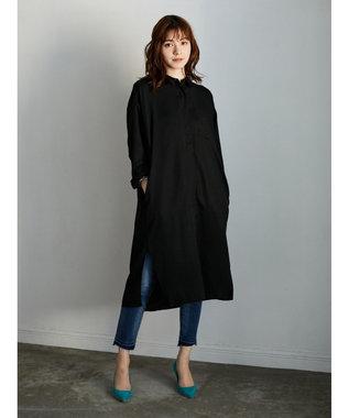 YECCA VECCA ポケット付きスリットロングシャツ Black