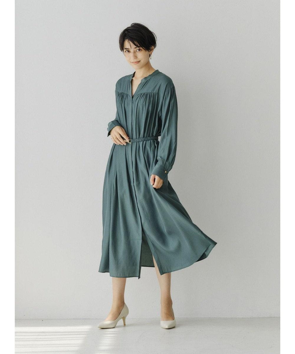 YECCA VECCA ベルト付きギャザーシャツワンピース Green